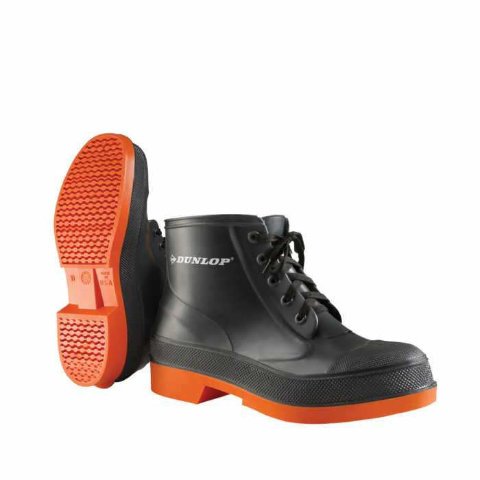 Dunlop 87980 Men's Grey/Orange 6 Inch PVC Waterproof, Slip Resistant, Soft Toe, Lace Up Boot