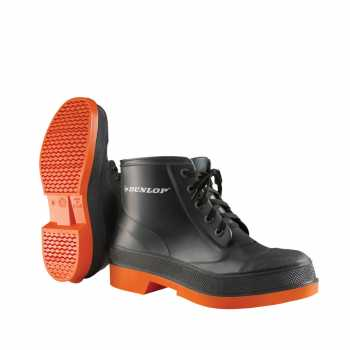 Dunlop 87981 Men's Grey/Orange 6 Inch PVC Waterproof, Slip Resistant, Steel Toe, Lace Up Boot