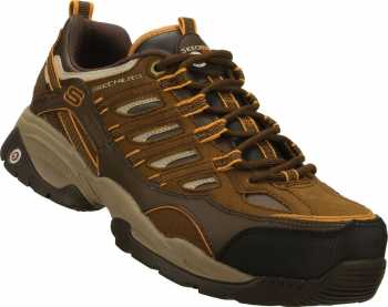 Skechers SK76829BROR Sparta-Command, Men's Brown/Orange, Alloy Toe, EH, Sneaker