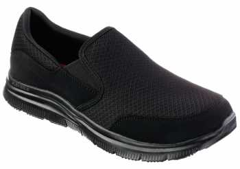 Skechers SK77048BBK McAllen Men's Black, Soft Toe, Twin Gore, Slip Resistant Slip On