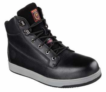 Skechers SK77074BLK Men's Black, Steel Toe, EH, 6 Inch Boot