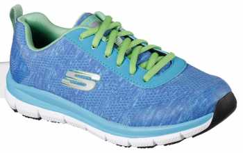 Skechers Work SK77217BLGR Blue/Green Comfort Flex Pro HC Soft Toe, Slip Resistant Women's Athletic
