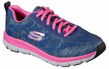 Skechers Work SK77217NVPK Navy/Pink Comfort Flex Pro HC Soft Toe, Slip Resistant Women's Athletic