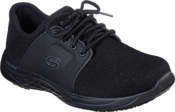 SKECHERS Work SK77265BLK Toston-Auley, Black, Soft Toe, WP, Slip Resistant Oxford
