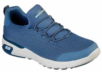Skechers SK77821BLU Marsing-Waiola, Women's, Blue/White, Soft Toe, Slip Resistant Athletic