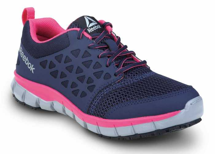 Reebok Work SRB032 Sublite Cushion Work, Navy/Pink, Women's, Athletic Style Slip Resistant Soft Toe Work Shoe