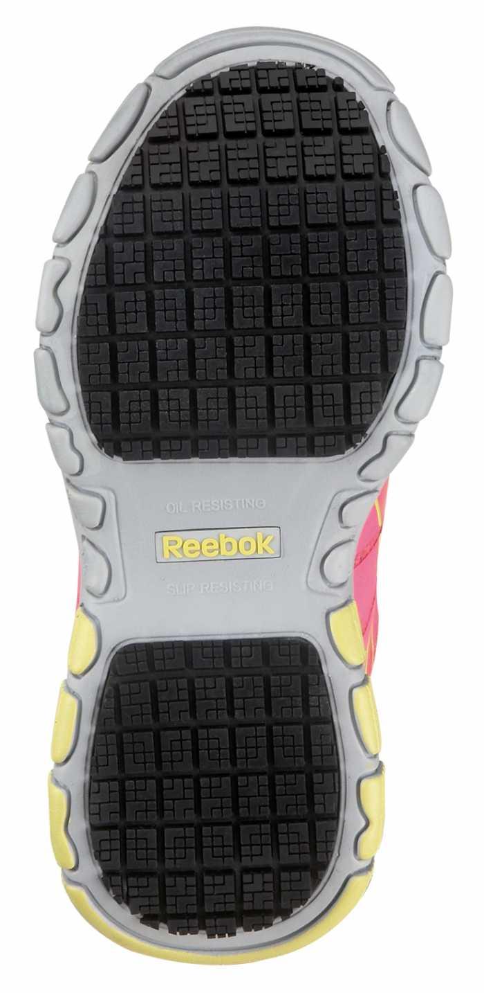 Reebok SRB147 Pink/Yellow Soft Toe, Slip Resistant, Women's Vegan Arion MaxTrax Athletic