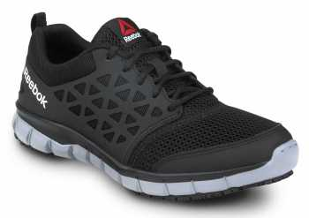 Reebok Work SRB3201 Sublite Cushion Work, Black/Gray, Men's, Athletic Style Slip Resistant Soft Toe Work Shoe