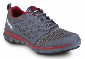 Reebok SRB3202 Sublite Cushion Work, Dark Grey/Red, Men's, Slip Resistant Athletic