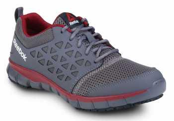 Reebok SRB3202 Sublite Cushion Work, Dark Grey/Red, Men's, Slip Resistant Athletic