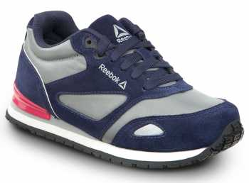 Reebok Work SRB978 Prelaris, Navy/Grey/Pink, Women's, Jogger Style Slip Resistant Soft Toe Work Shoe