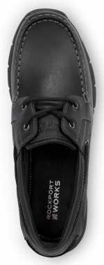 Rockport SRK2220 Men's Hampton Black, Soft Toe, Slip Resistant, Boat Shoe