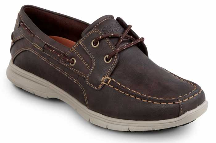 Rockport SRK2221 Men's Hampton Brown, Soft Toe, Slip Resistant, Boat Shoe