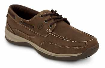 Rockport Works SRK910 Women's Brown Soft Toe, MaxTrax Slip Resistant, Boat Shoe
