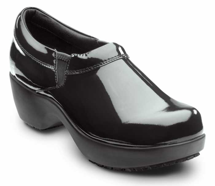 SR Max SRM133 Geneva Black Patent, Women's, Soft Toe, Slip Resistant Clog