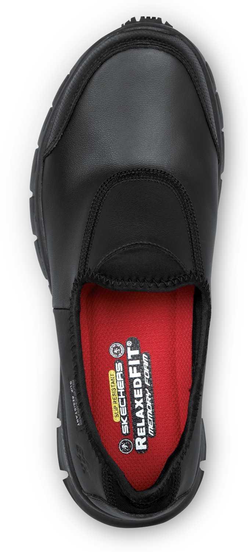 Skechers SSK401BLK Lauren Women's Black Slip On Oxford Soft Toe Slip Resistant