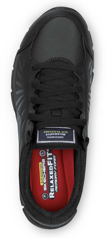 Skechers SSK405BLK Stacey Black Soft Toe, Slip Resistant, Low Athletic