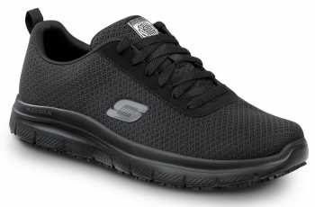 Skechers SSK9159BLK Luke, Men's, Black, Soft Toe, Slip Resistant Lace Up