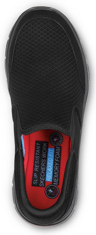 Skechers SSK9809BBK Jimmy Men's Black, Soft Toe, MaxTrax Slip Resistant, Slip-on Athletic