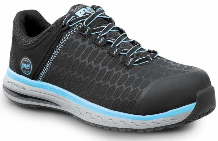 Timberland PRO STMA1XS7 Powerdrive, Women's, Black/Aqua, Comp Toe, EH, MaxTRAX Slip Resistant Low Athletic