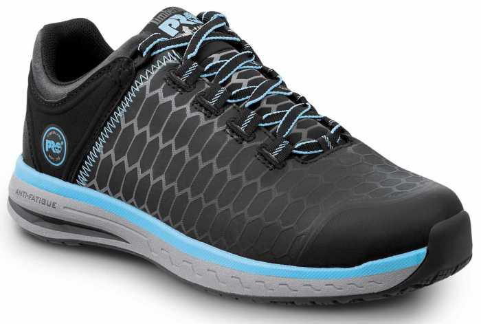 Timberland PRO STMA1XUE Powerdrive, Women's, Black/Aqua, Soft Toe, EH, Low Athletic