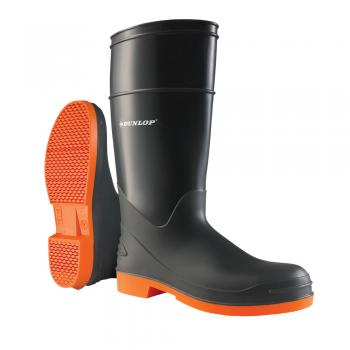 Dunlop 87983 Men's Grey/Orange 16 PVC Waterproof, Slip Resistant, Soft Toe, Pull On Boot