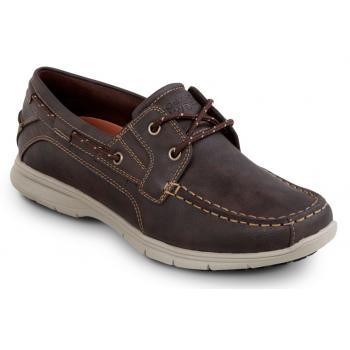 Rockport SRK2221 Men's Hampton Brown, Soft Toe, Slip Resistant, Boat Shoe